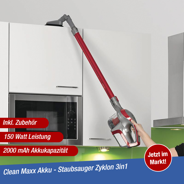 CleanMaxx Akkustaubsauger 3in1 Zyklon